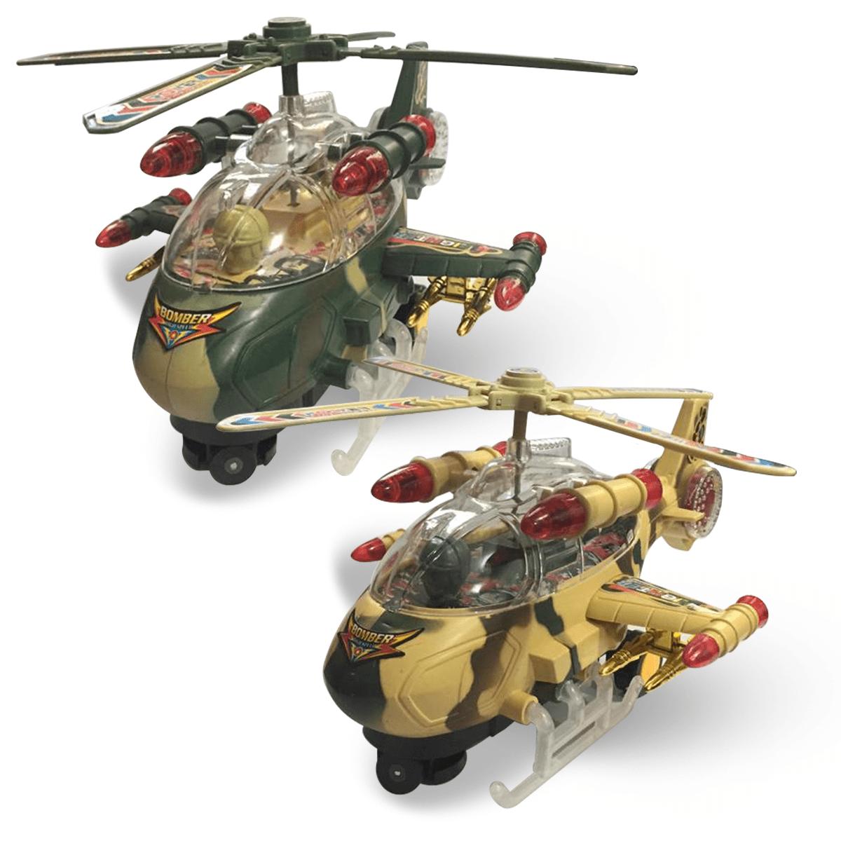 Helicóptero Brinquedo Super Airplane Military Bate E Volta