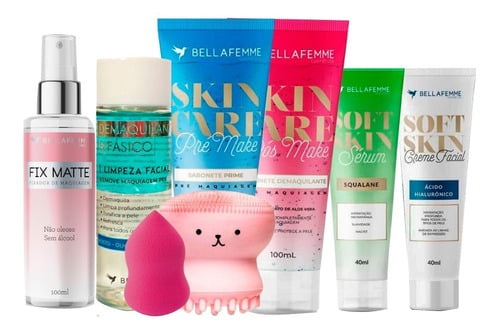 Kit Limpeza Esponja Facial Pré Pós Make Produtos Bella Femme