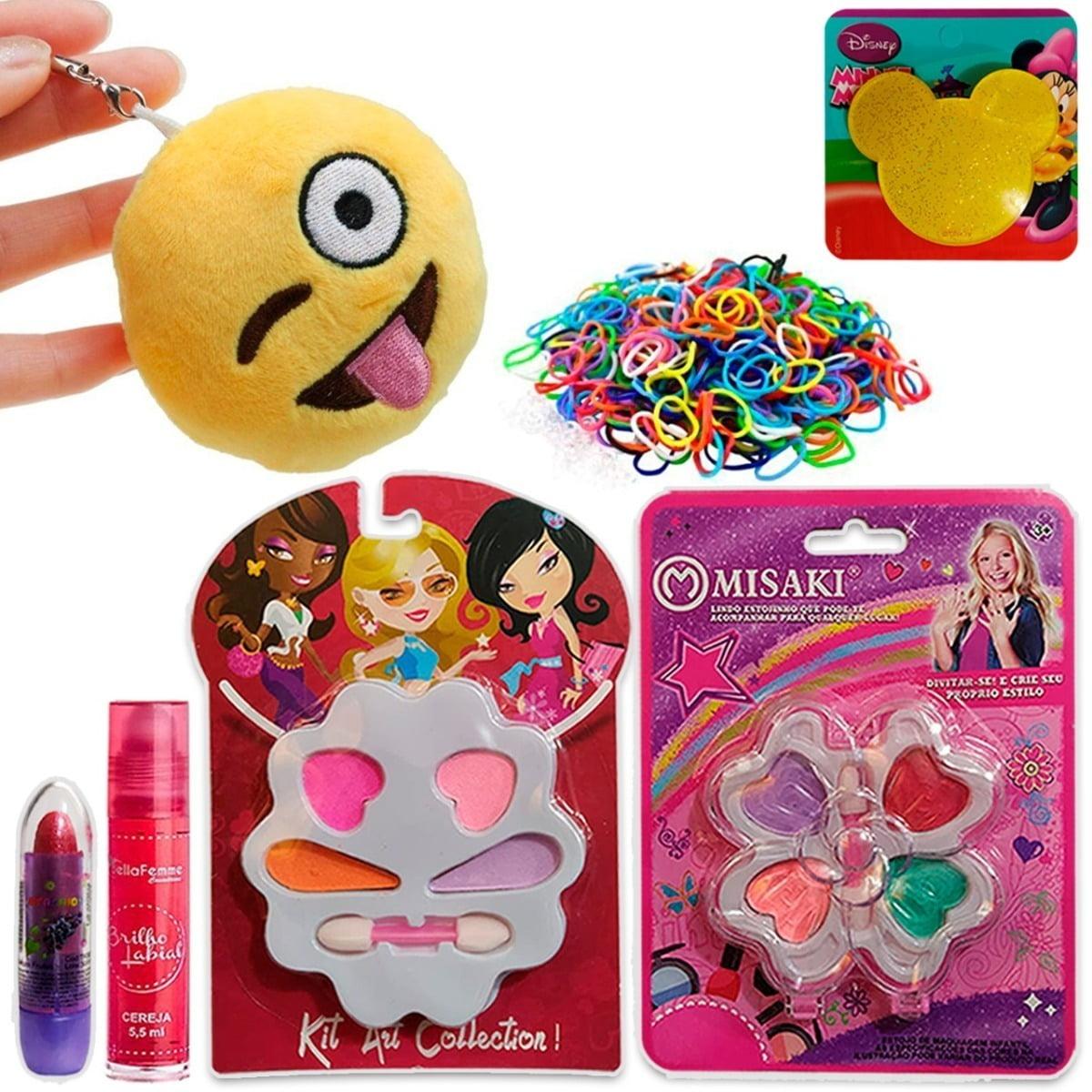 Kit Maquiagem Infantil Chaveiro Emoji Batom Brilho Sombra