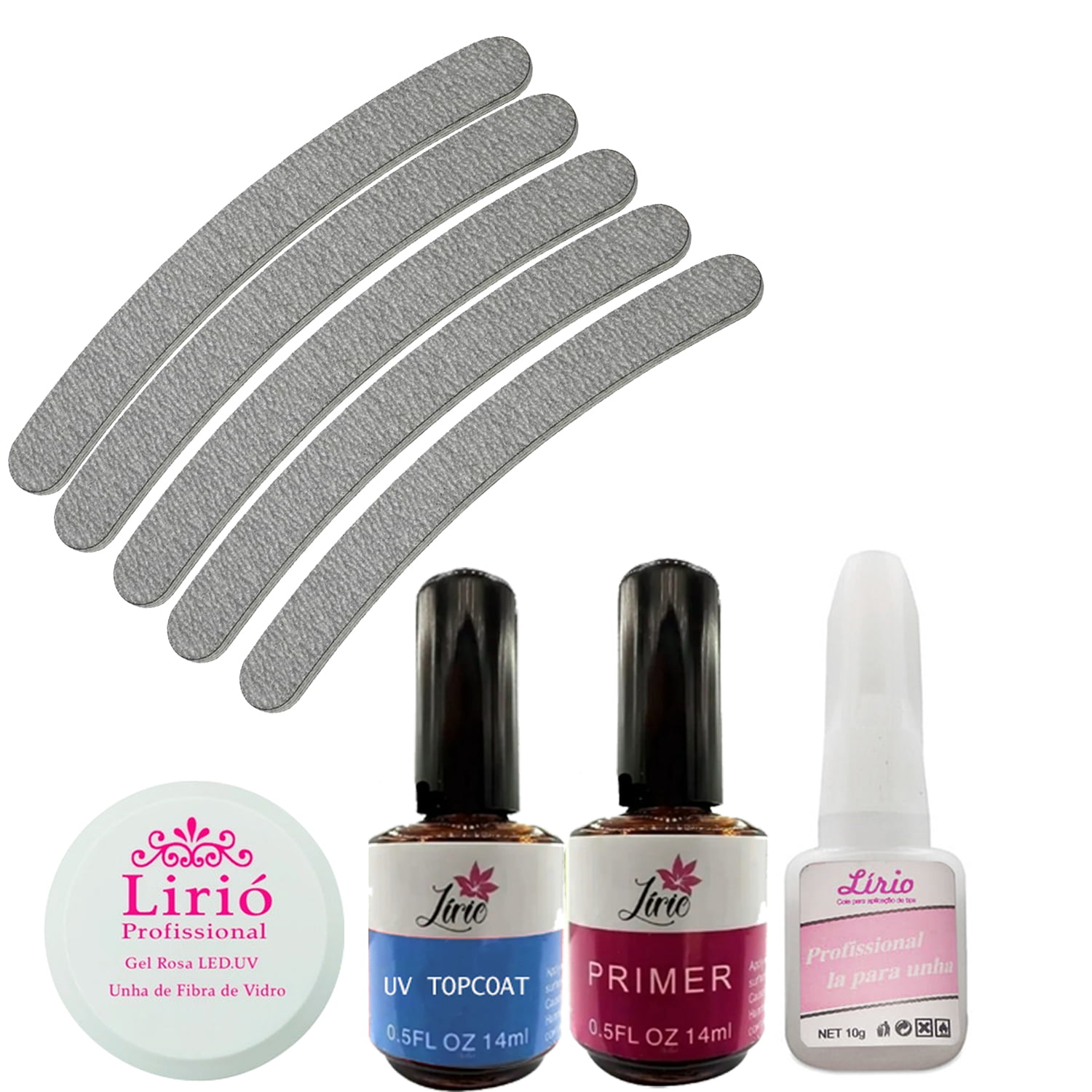 2 Gel 2 Top Coat 1 Primer 5 Lixas Banana 1 Cola Lirió