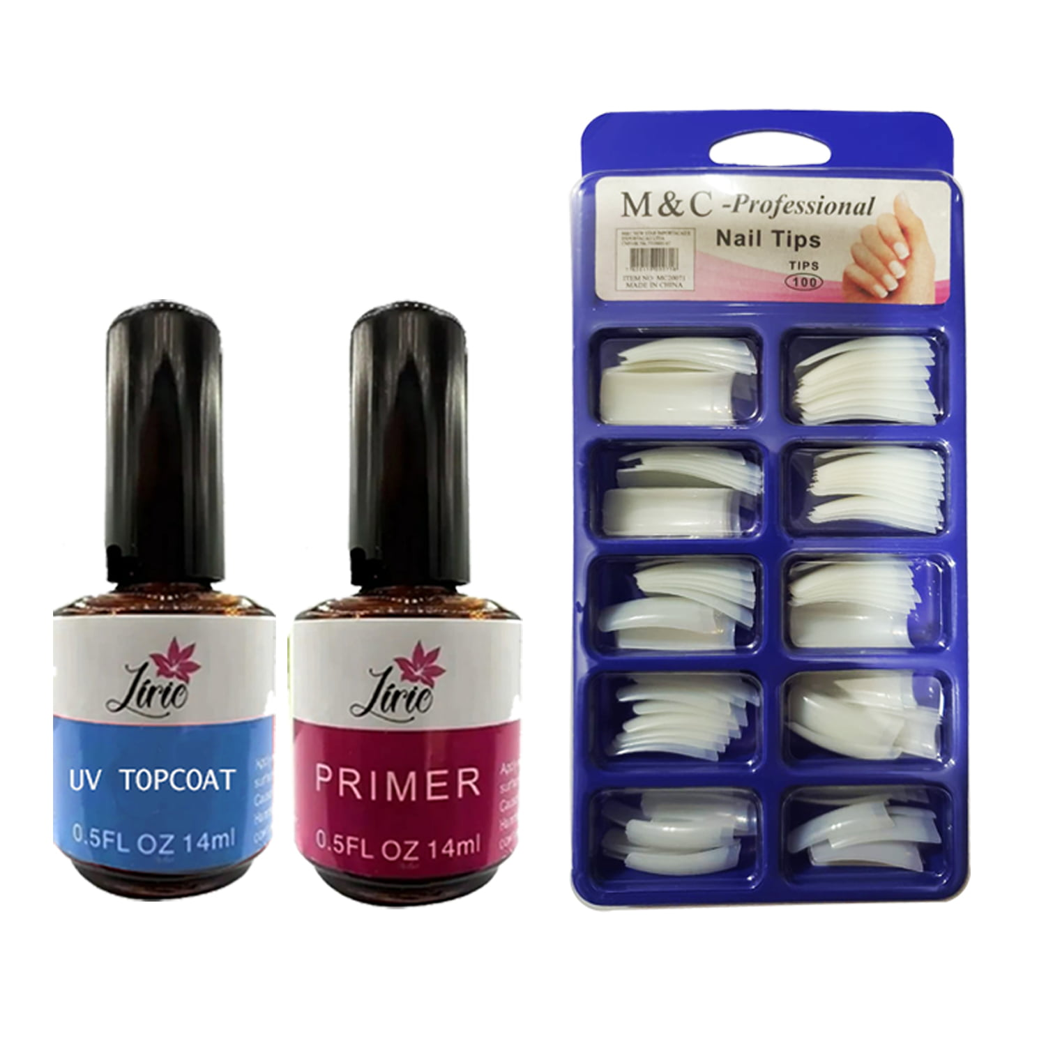 Kit Unha Gel Topcoat Lirio + Primer + 100 Tips