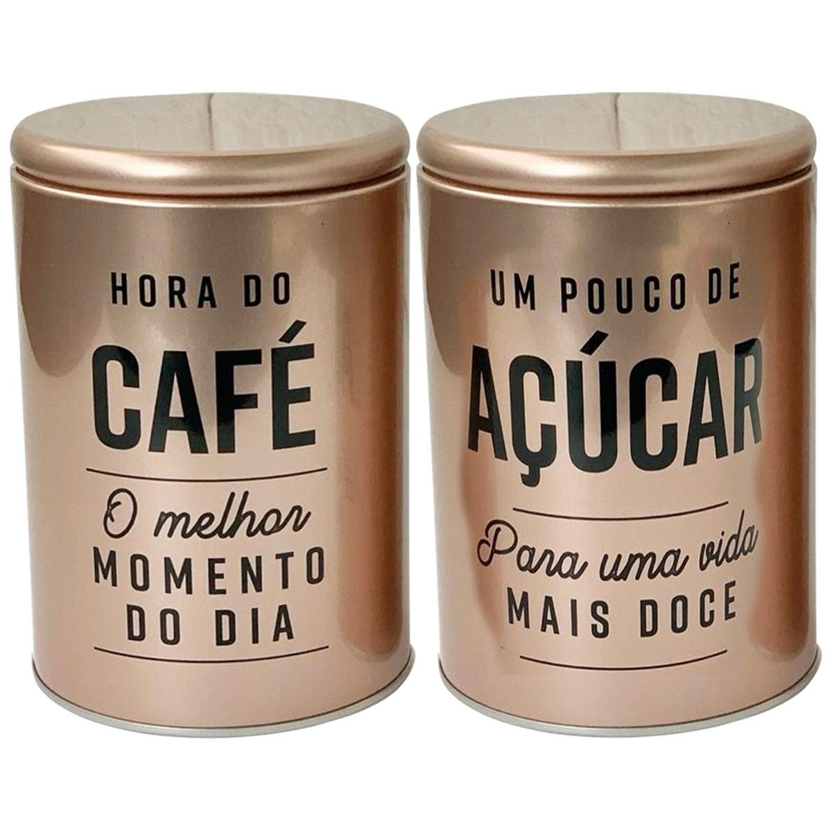 2 Lata Porta Mantimento Rose Gold Retrô Café Açúcar 10x15cm