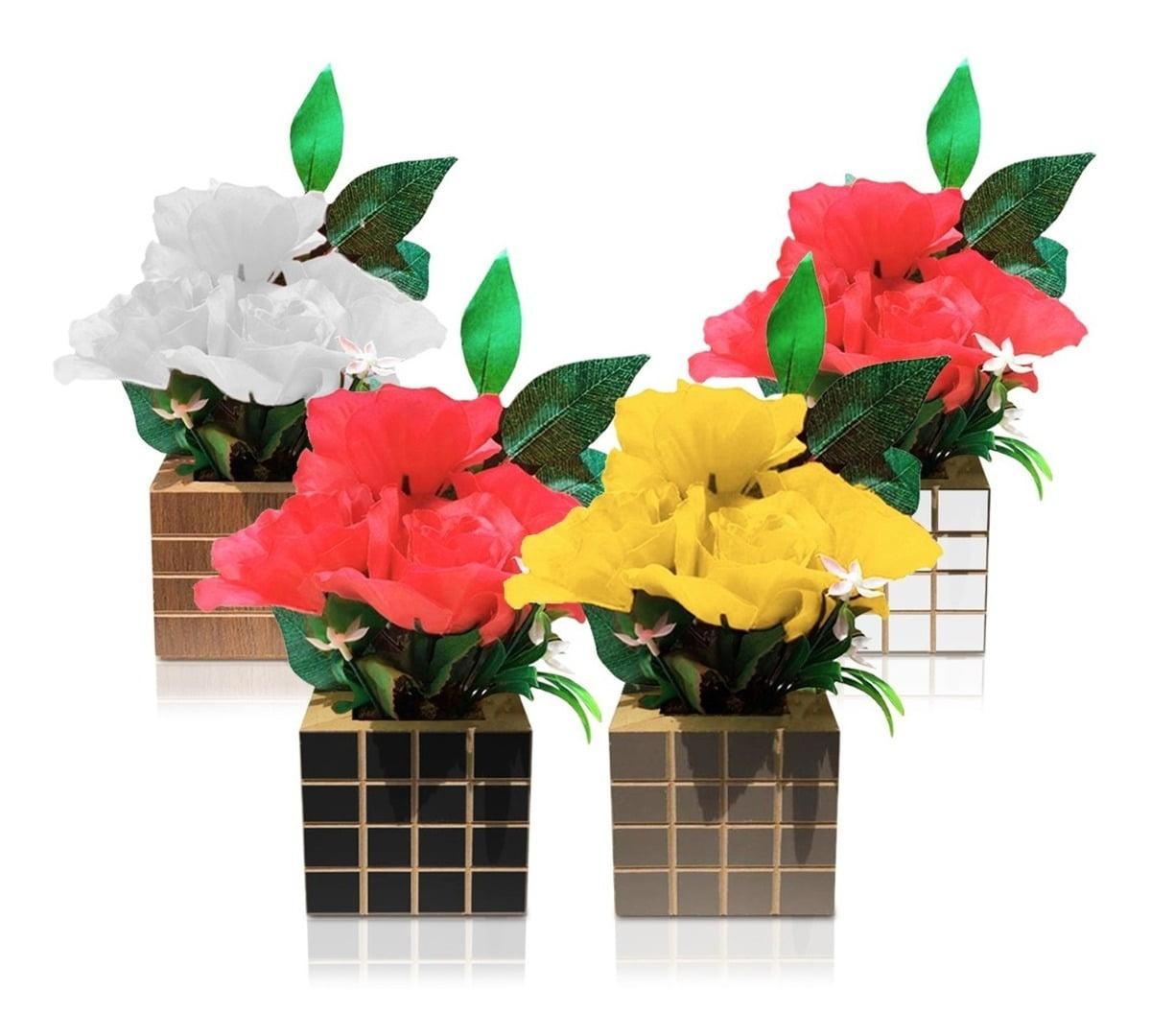 4 Arranjo Flores Promoção Vaso Flores Artificiais