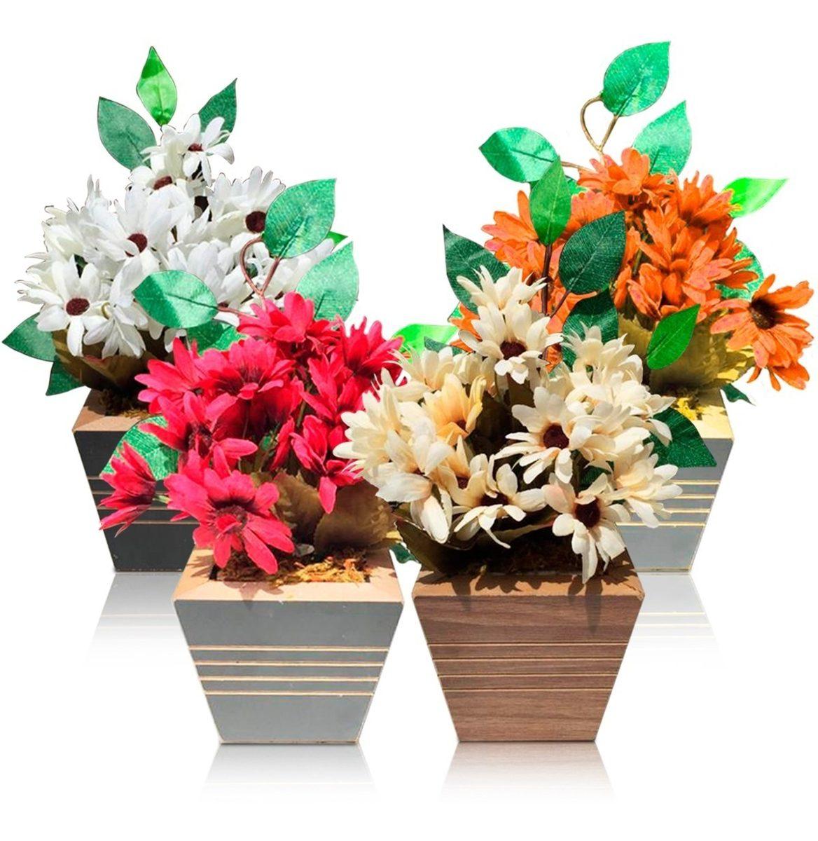 Arranjo De Flores Artificiais Decoração Vasos Margarida