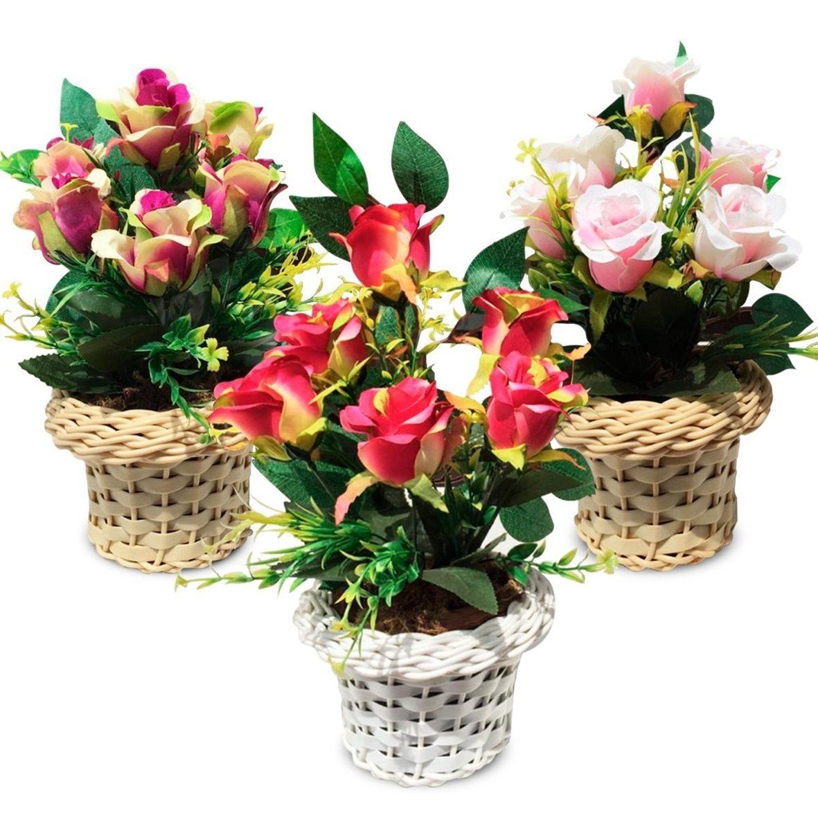 Arranjo de Flores Rosa Artificiais Vaso Artificial Flor
