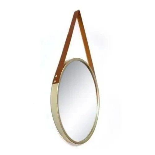 Espelho Redondo Com Alça De Couro - Marrom 45cm
