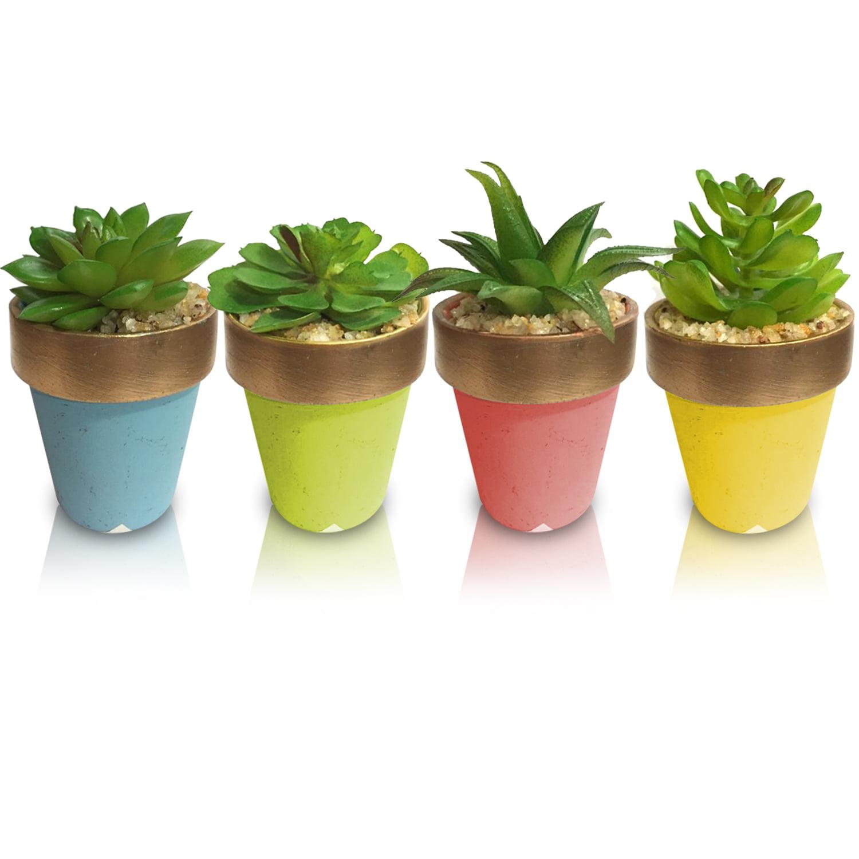 Kit 4 Planta Suculenta Artificiais Vaso Cerâmica 6,5x6,5cm