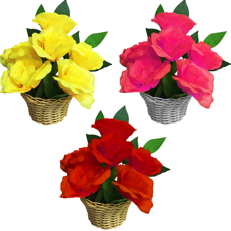 3 Arranjo Rosas Realistas Artificiais Vaso Decora Sua Mesa