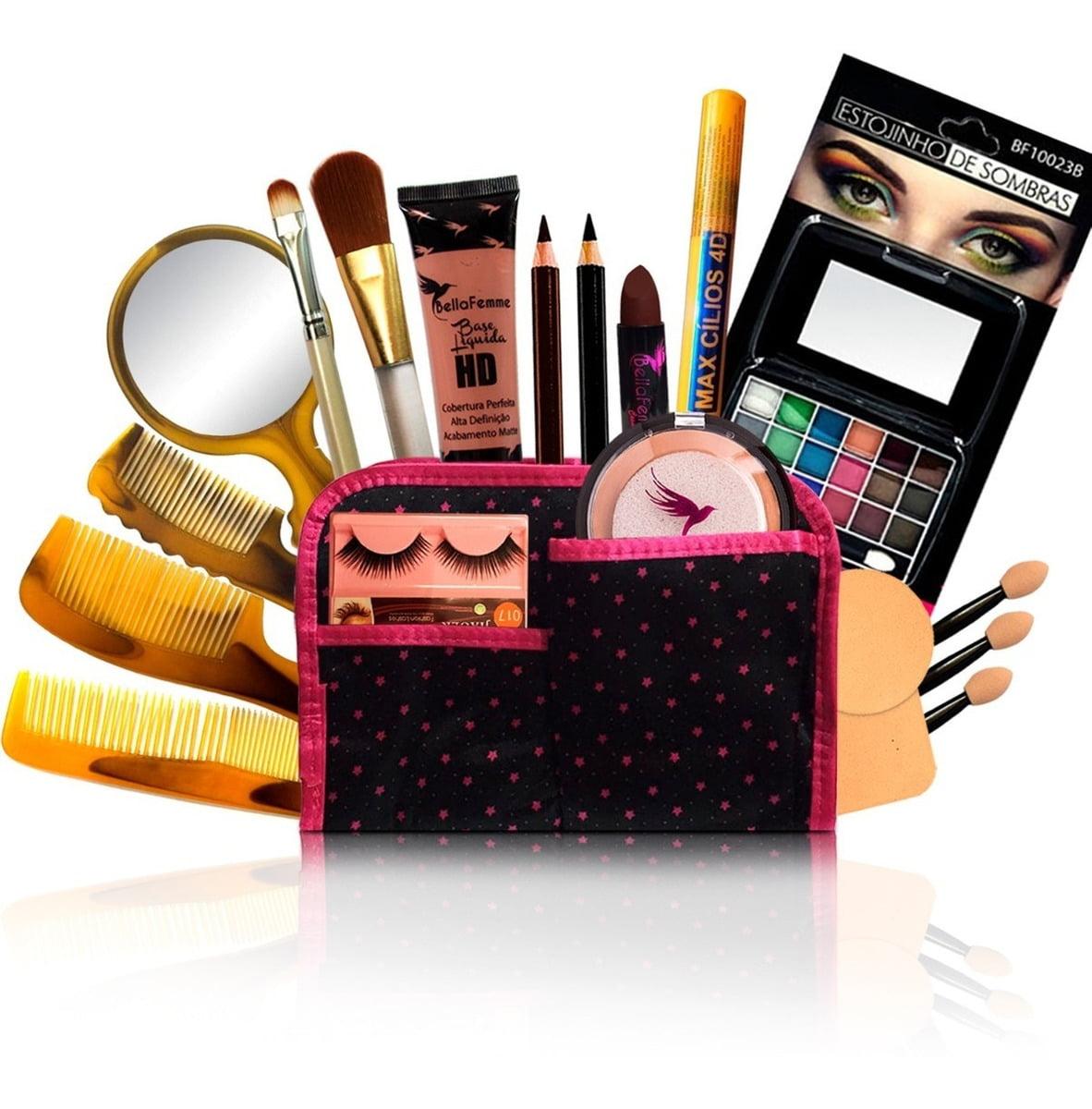 Kit Maquiagem Pincel Sombra Base Pó Bella Femme