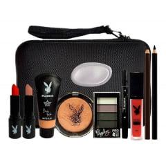 Combo Maquiagem Completo Playboy Base Batom Delineador Pó