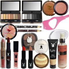 Combo Maquiagem Completo Sombra Batom Matte Base Bronzeador
