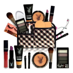 Kit Maquiagem Completo Necessaire Pincel Playboy