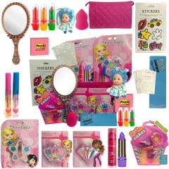 Kit Maquiagem Infantil Completo Batom Gloss Sombra Espelho