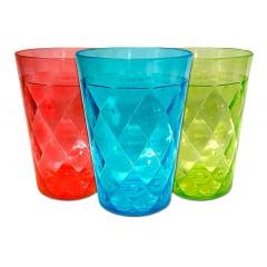 Kit 12 Copo Pet Acrílico Plástico Colorido Drink Festa 350ml