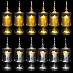 12 Castiçal Decorativo Provençal + 12 Vela Led Prata ou Dourado