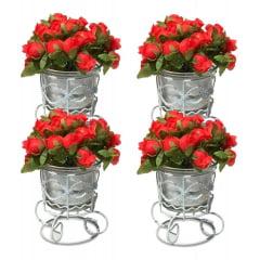 10 Castiçal Aramado Decorativo Arranjo Rosas Flor Artificial