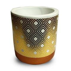 3 Vasos Cachepot Cerâmica Suculenta Detalhes Dourado 7x6.5cm