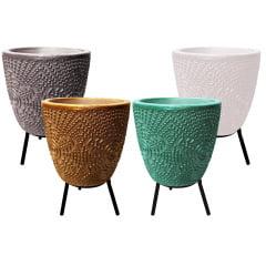 4 Vaso Cachepot Cerâmica Planta Suculenta