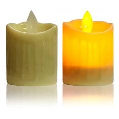 Kit 4 Vela Led Decorativa Amarela Chama Viva Oscilante Natal