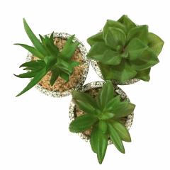 Kit 6 Planta Mini Suculenta Artificiais Vaso Cerâmica 11x8cm