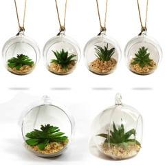 Kit com 4 Plantas Suculenta Artificial Vaso Acrílico Para Pendurar 11cm