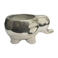 Vaso Cachepot Elefante Metalizado Porcelana Plantas Canetas ou Pinceis Formato Elefantes 7cm