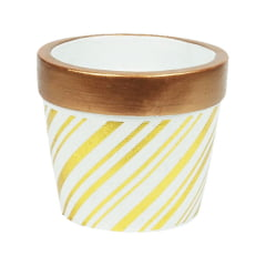 Vasos Cerâmica Cachepot Para Suculenta Detalhes Dourado