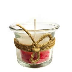 Vela Artesanal Perfumada no Vidro Fio de Sisal Com Saquinho de Brinde 4,5x4,5cm