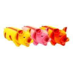 3 Brinquedo Porco Borracha Som Sonoro Barulho Cães Gatos