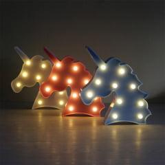Luminária Abajur Unicórnio C/ Luz Led Mesa E Parede - 3 Cores