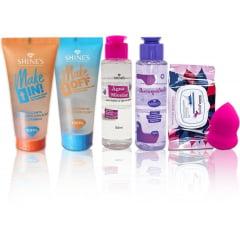 Kit Limpeza Facial Make In/off Agua Micelar Esponja Demaquilante