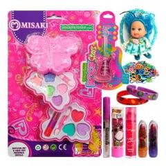 Kit Maquiagem Infantil Batom Brilho Gloss Sombra Chaveiro