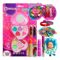 Kit Maquiagem Infantil Batom Brilho Sombra Chaveiro