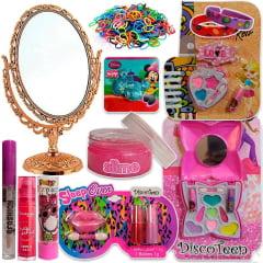 Kit Maquiagem Infantil Batom Brilho Sombra Espelho Slime