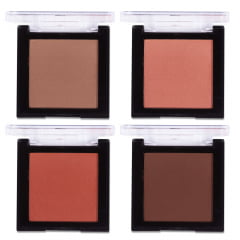 Kit Com 4 Blush Facial Compacto Quadrado Makeblush Playboy