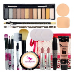 Kit Maquiagem Completo Necessaire Pinceis Sombra Luxo