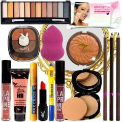 Kit Maquiagem Pincéis Necessaire Espelho Sombra Batom Luxo