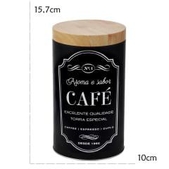 2 Pote Lata Porta Mantimento Redondo Açúcar Café 10x15.7cm