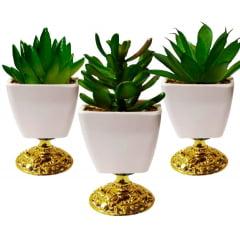 4 Vaso Cachepot Decorativo Com Planta Suculenta Artificial