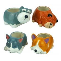 4 Vaso Decorativos Miniaturas 11x5cm Cachepot Suculenta Dog
