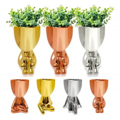 4 Vaso Porcelana Decorativo Cabeça De Planta Robert Plant