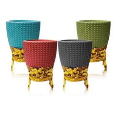 Kit 4 Vaso Cerâmica Decorativo Para Planta Suculenta 7x7,5cm