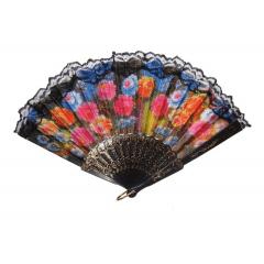 Leques Grande Florido Floral Tecido Plastico 42,5 X 23cm