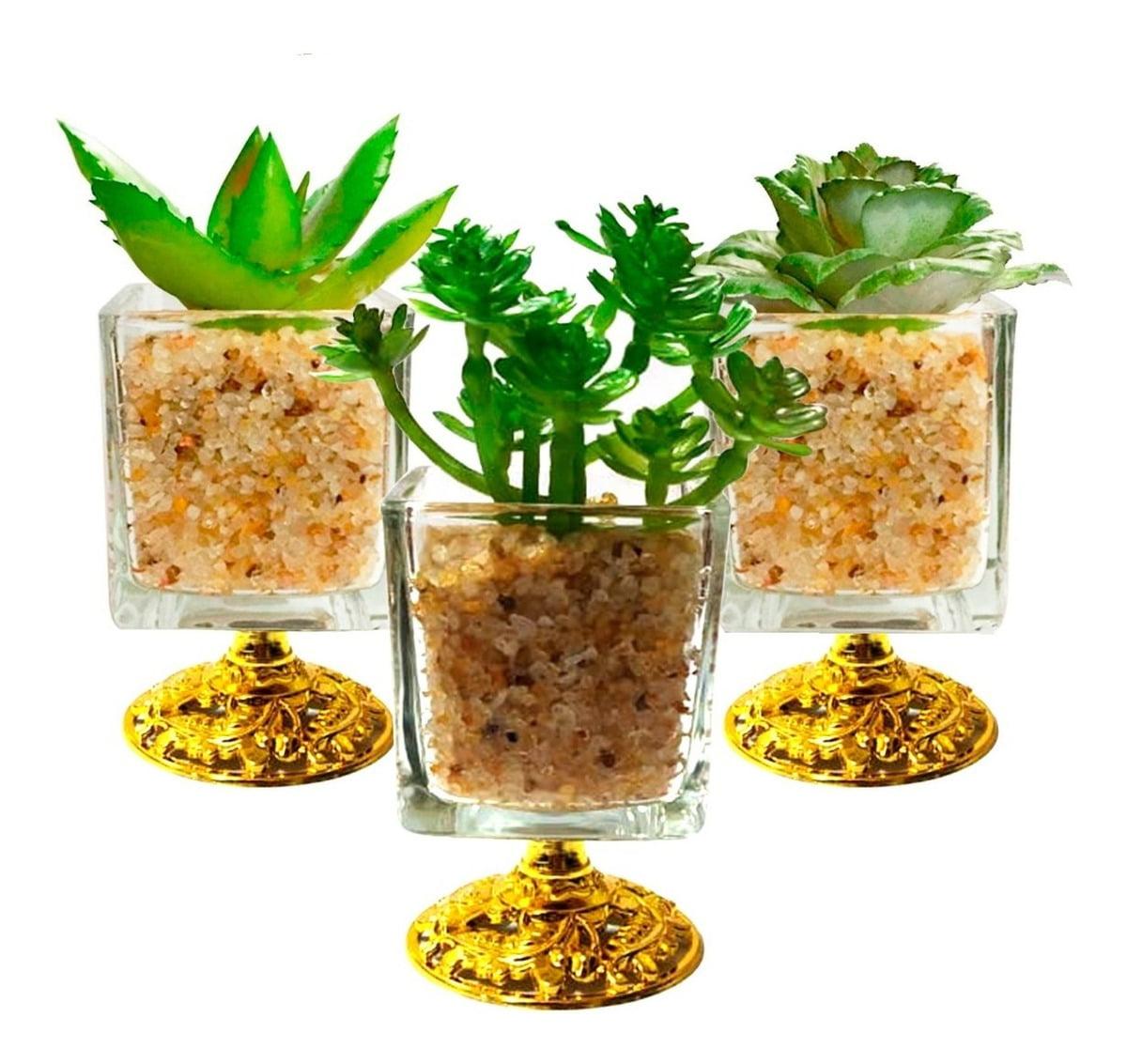 Kit 4 Vaso Decorativo Com Planta Suculenta Artificial